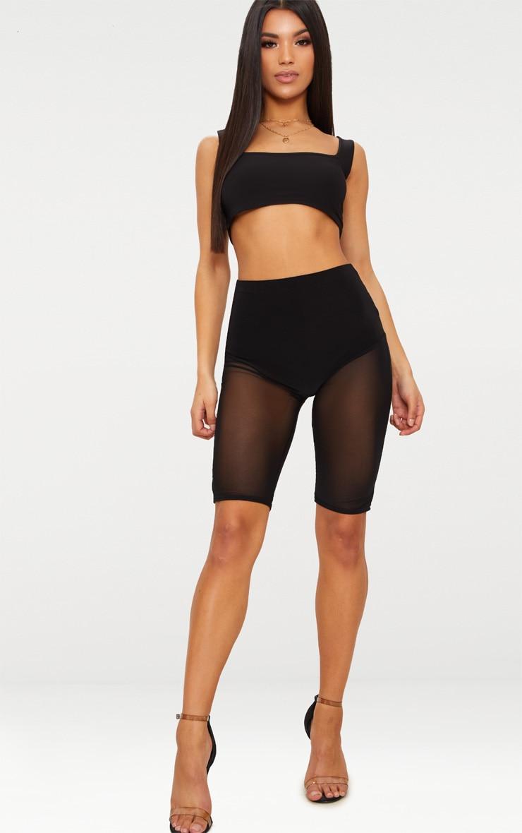 Black Mesh Leg Short  1