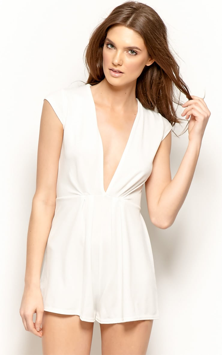 Allie Cream V Neck Playsuit 1