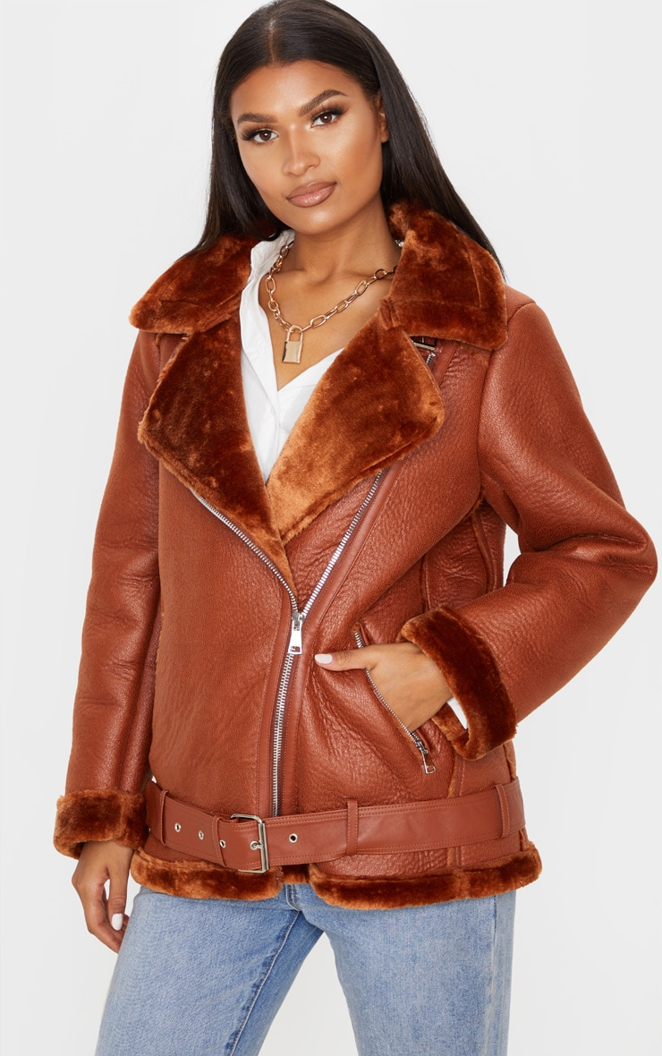 Tan PU Oversized Aviator Jacket 1