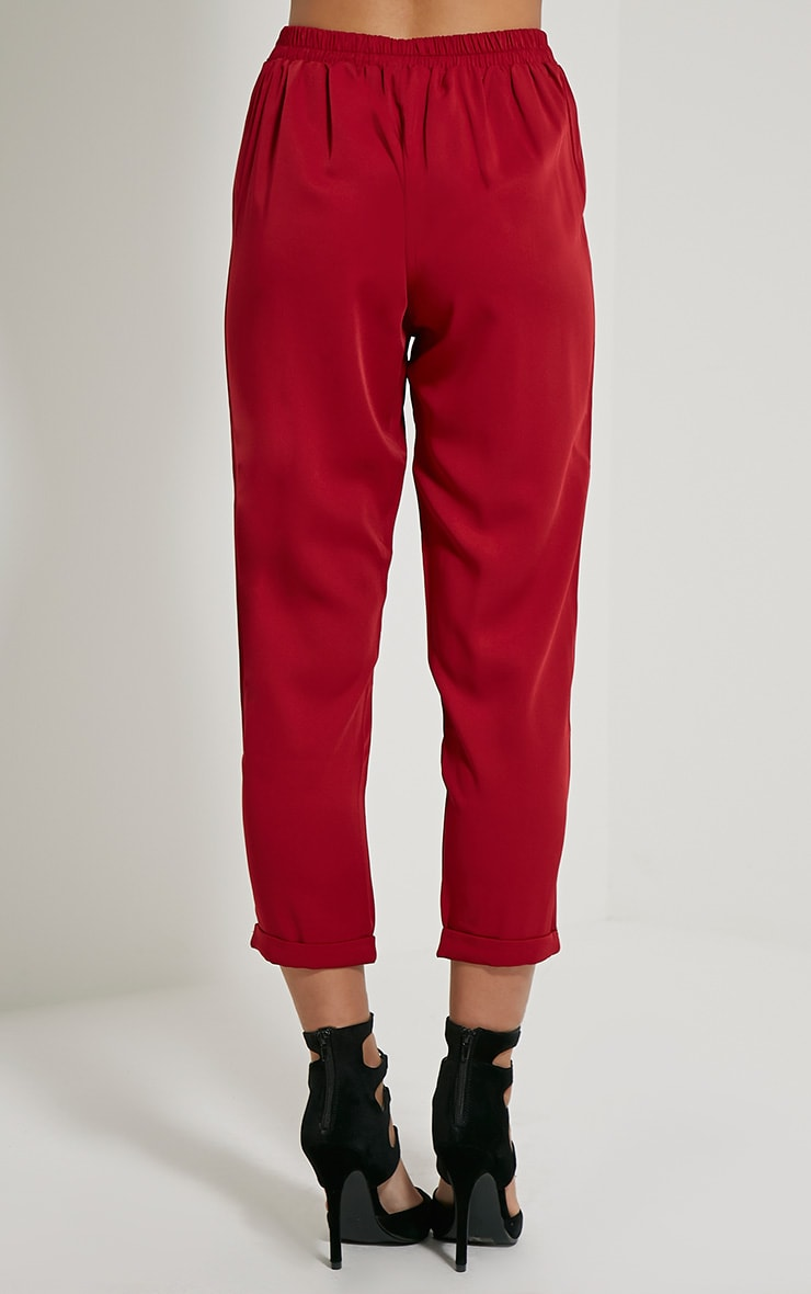 Hanya Burgundy Casual Trousers 4