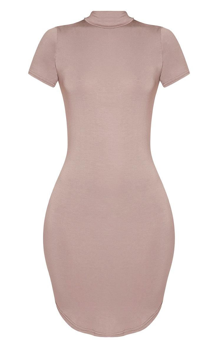 Alby Taupe Cap Sleeve Curve Hem High Neck Dress 3