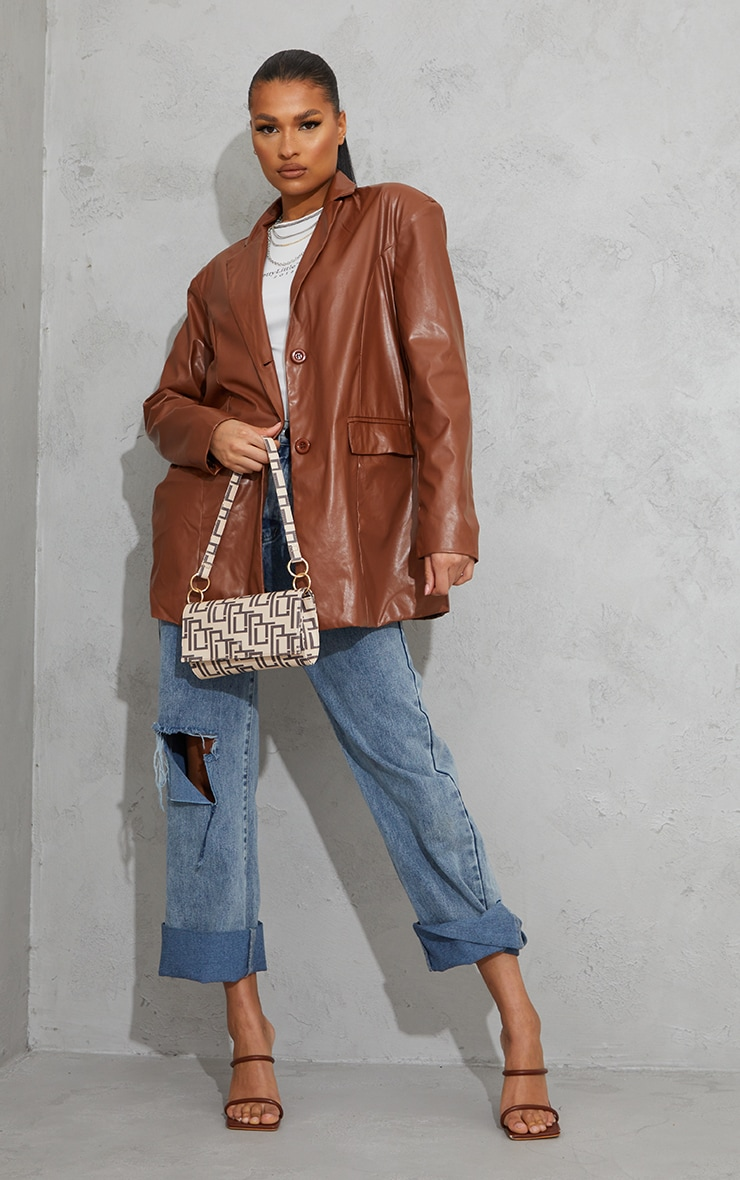 Toffee Faux Leather Oversized Dad Blazer 1