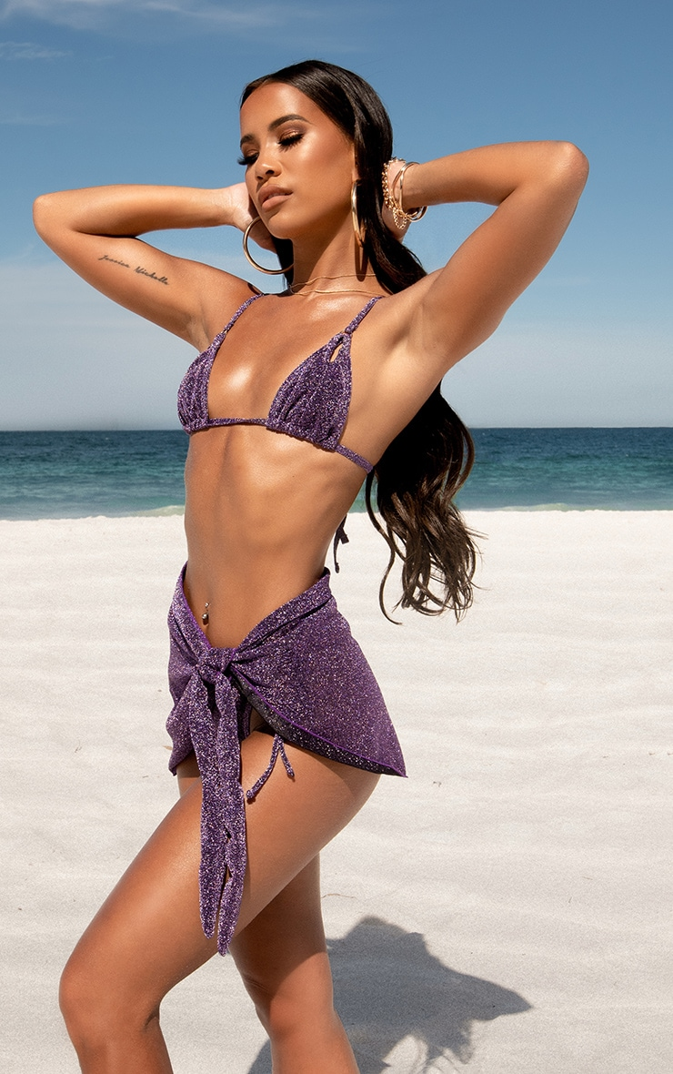 Purple Glitter Triangle Cut Out Bikini Top
