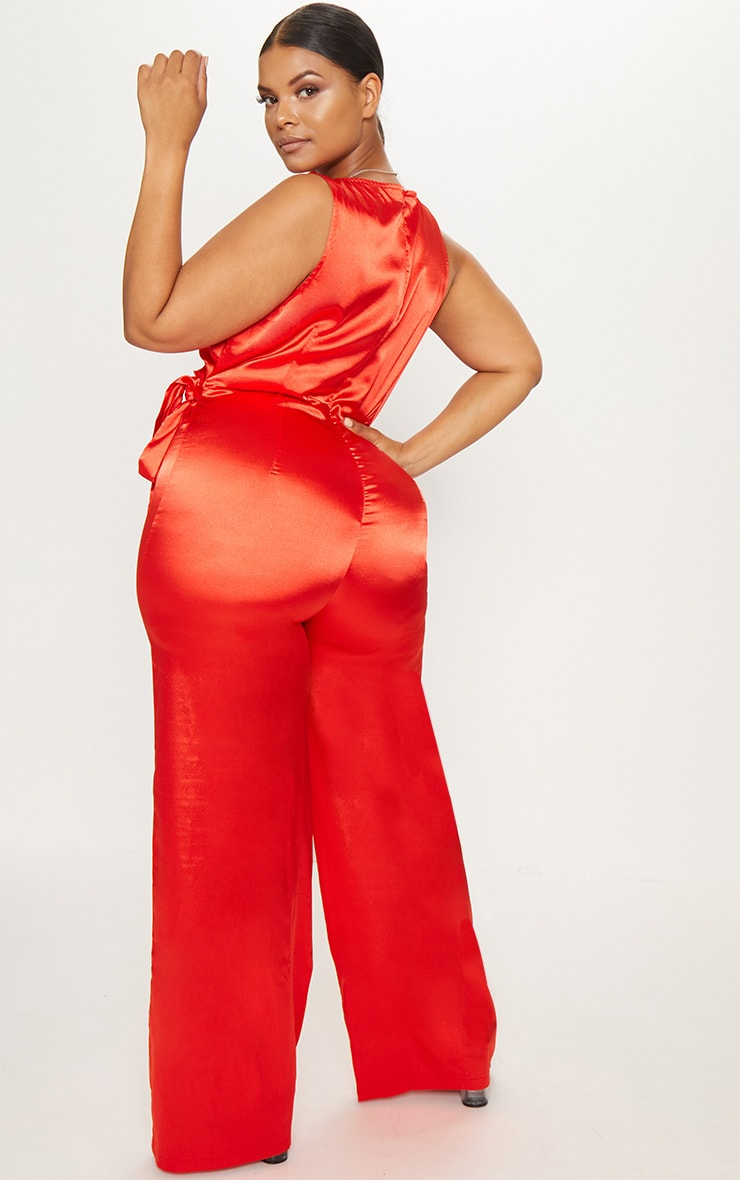 Plus Red Wrap Wide Leg Jumpsuit 2