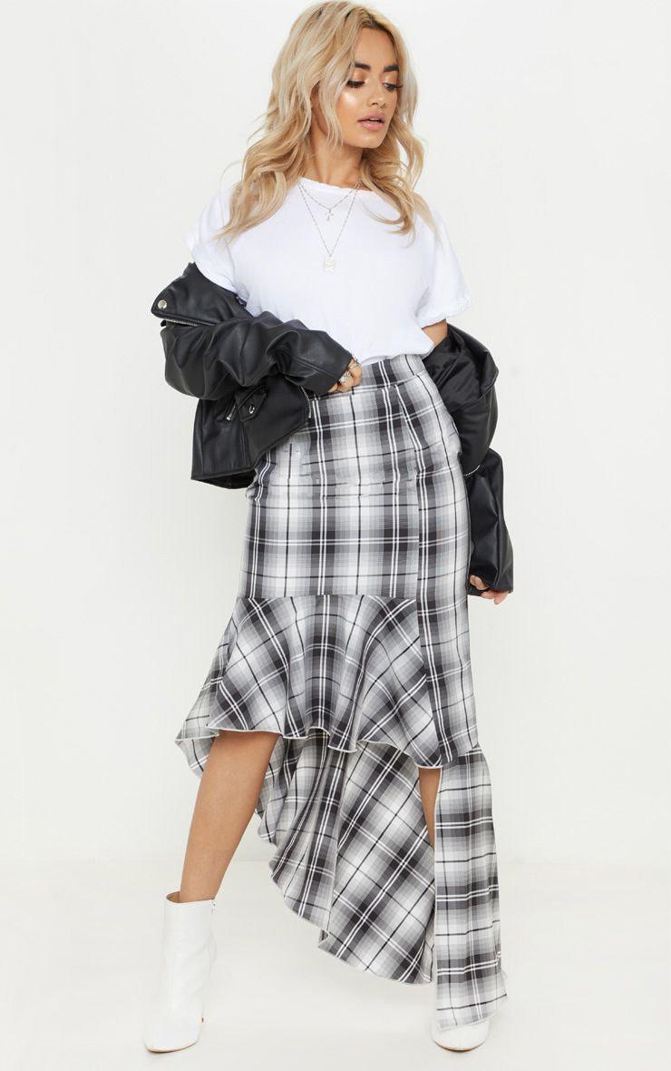 Petite Grey Check Frill Hem Midi Skirt 1