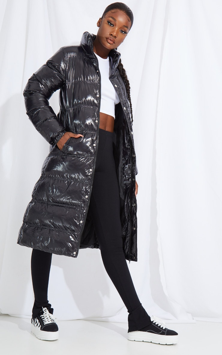 Tall Black Maxi High Shine Fitted Puffer Coat 3