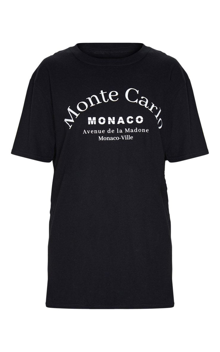 Black Monte Carlo Slogan T Shirt 3