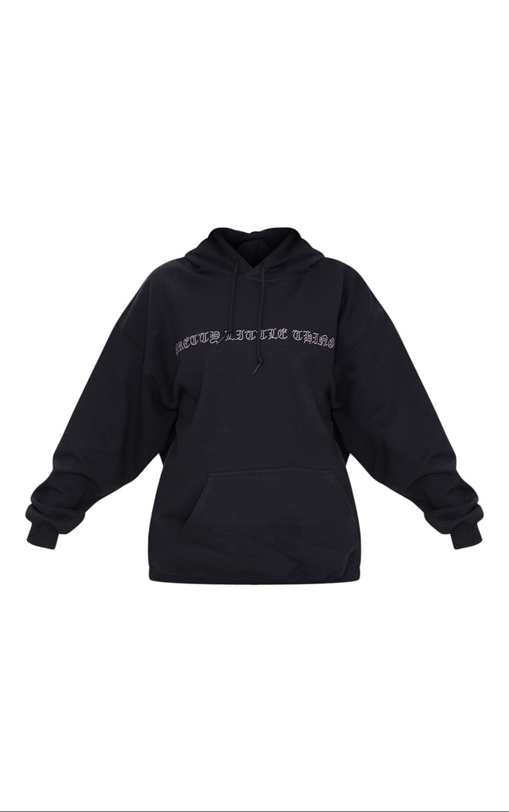 PRETTYLITTLETHING Black Diamante Slogan Hoodie 5