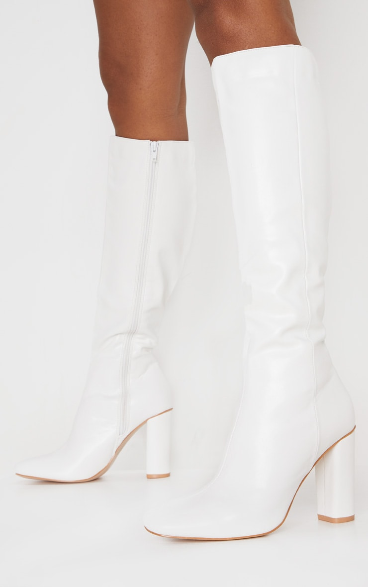 White Round Block Heel Knee High Boots 1