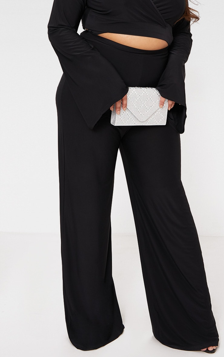 Plus Black Slinky Wide Leg Pants 6