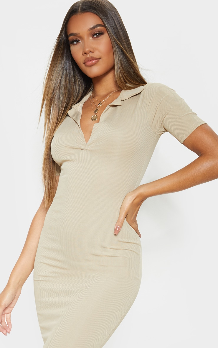 Biscuit Ribbed Midi Polo Dress 5