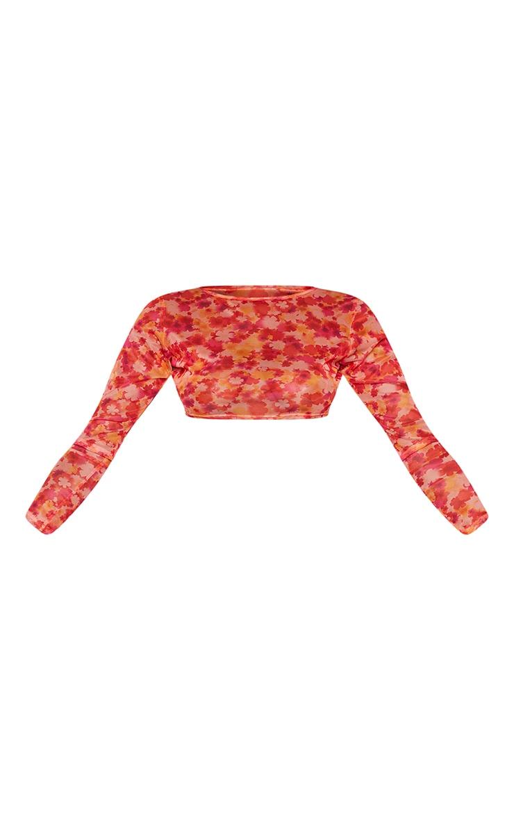 Pink Floral Printed Mesh Long Sleeve Crop Top 5