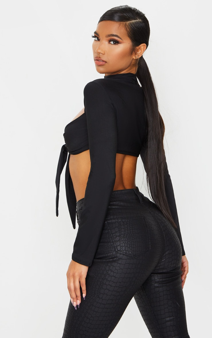 Black Slinky Cut Out Tie Front Long Sleeve Crop Top 2