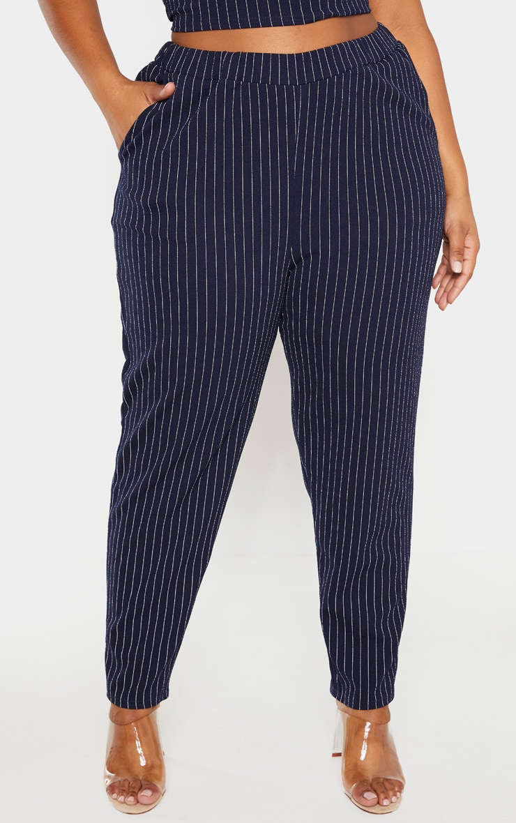 Plus Navy Pinstriped Straight Leg Pants  2