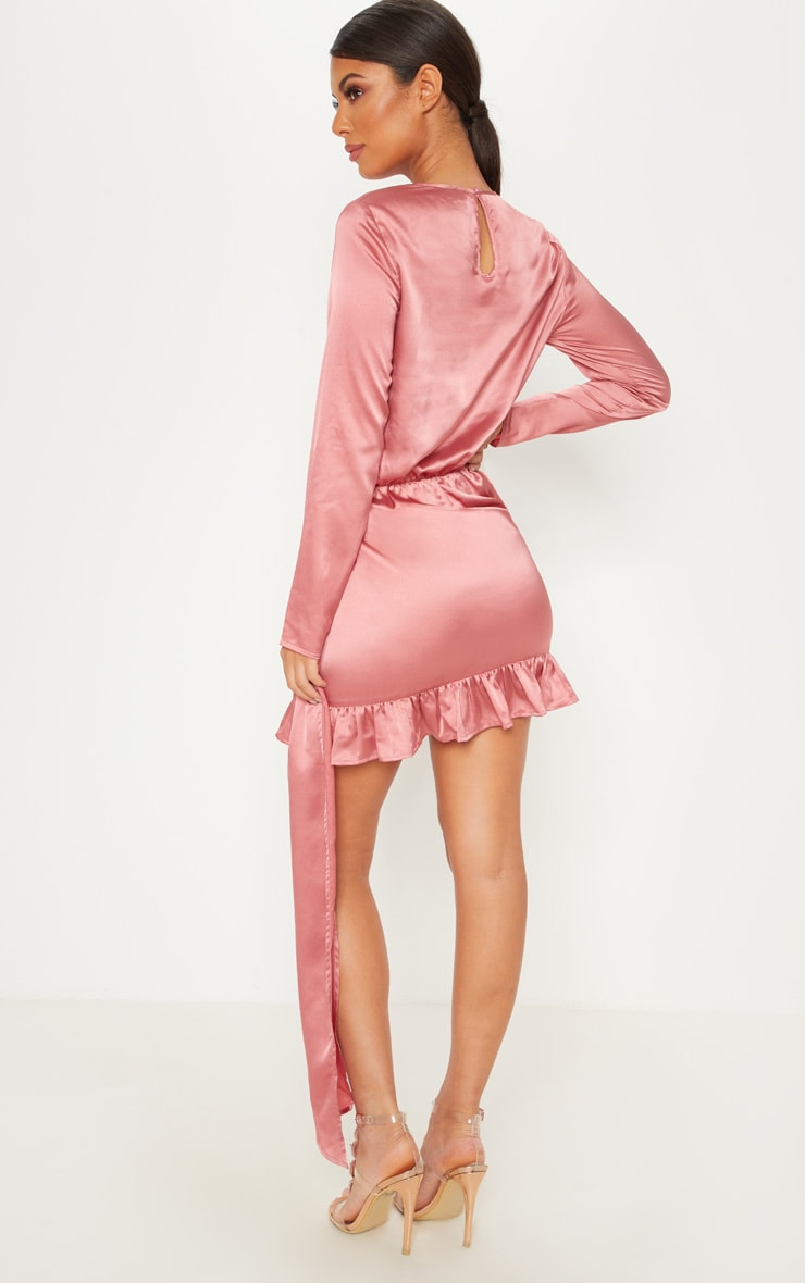 Rose Satin Drape Frill Hem Bodycon Dress 2