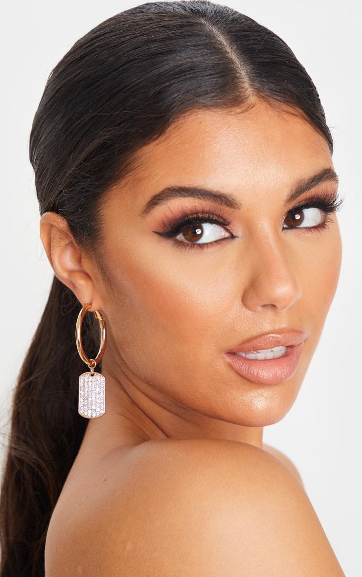 Gold Diamante Dog Tag Hoop Earrings 1