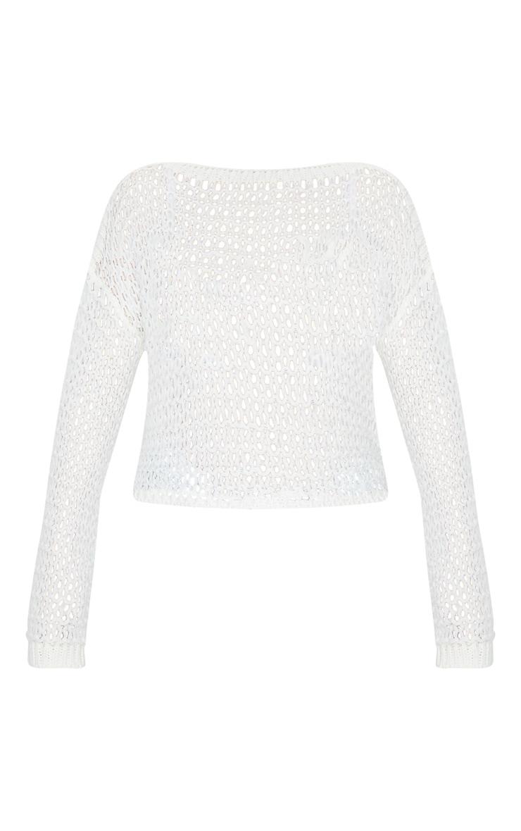 Cream Soft Open Knitted Drop Shoulder Sweater 5