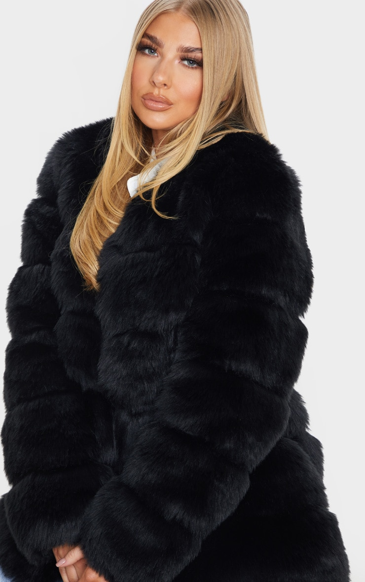 Black Faux Fur Bubble Coat 5