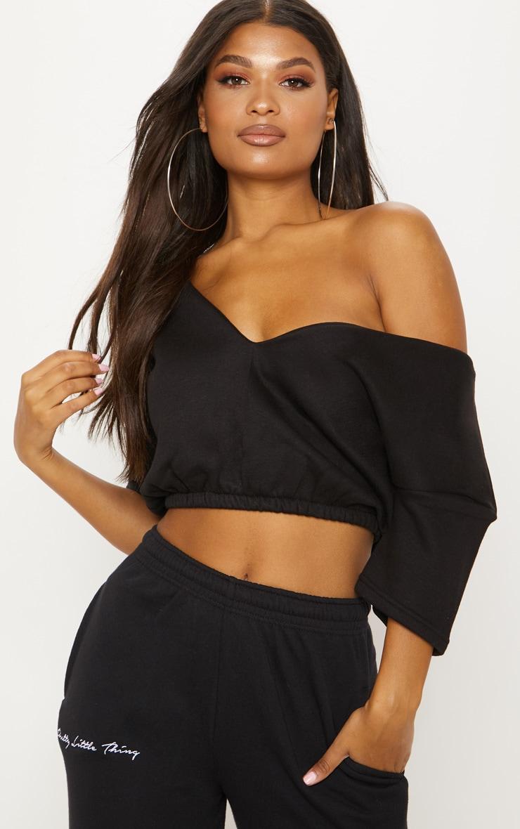 Black Crop Off Shoulder Short Sleeve Sweater  1