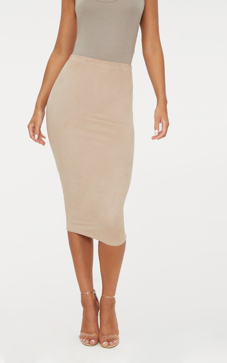 Stone Faux Suede Midi Skirt 2