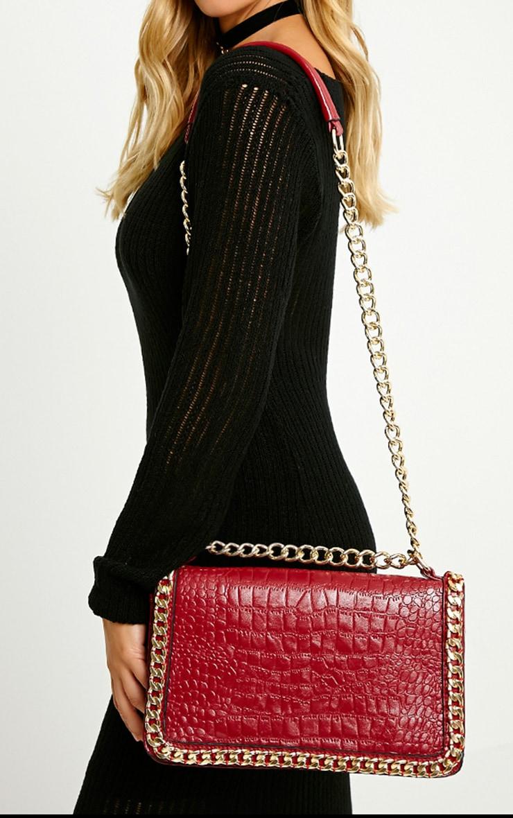 Ophelia Burgundy Chain Detail Bag 1