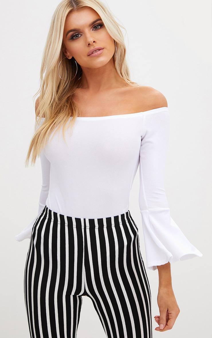 Petite White Flare Hem Sleeve Bodysuit 1