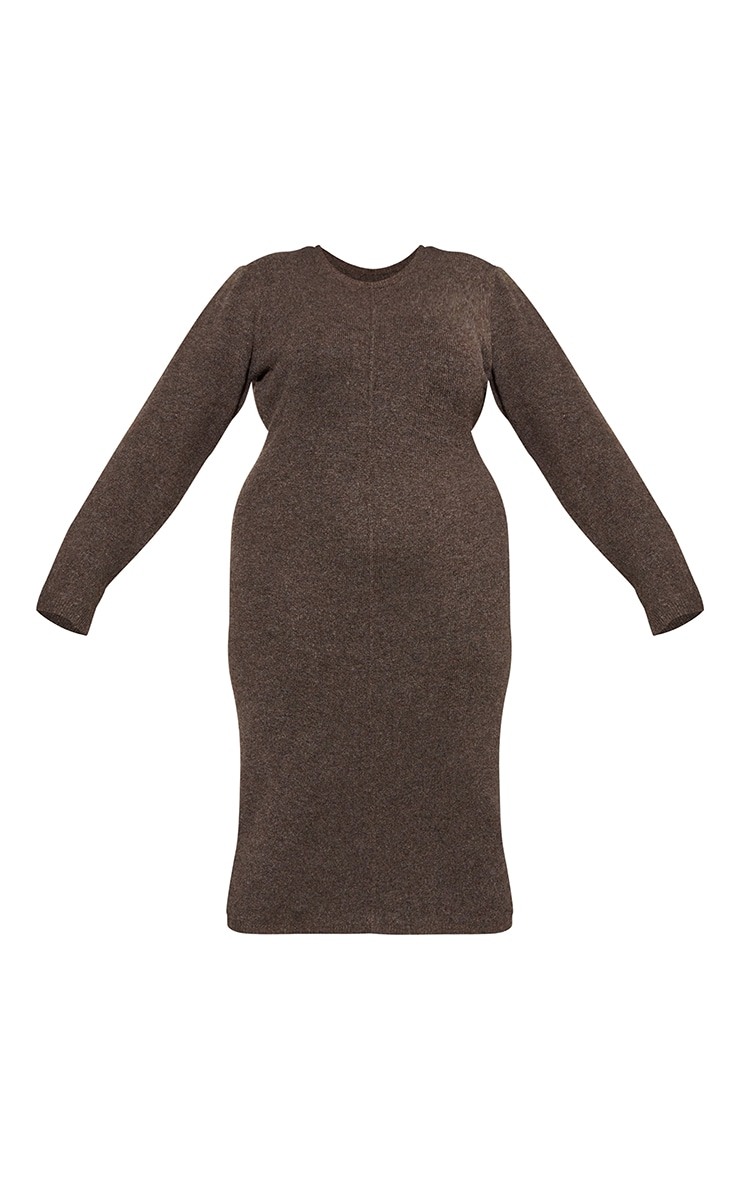 RENEW Plus Chocolate Knitted Seam Front Midaxi Dress 5