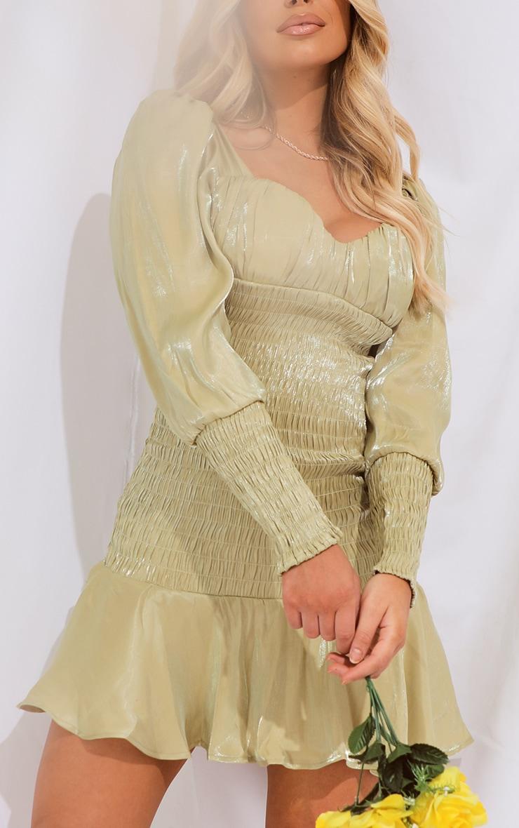 Sage Green Shirred Long Sleeve Frill Hem Shimmer Bodycon Dress 4