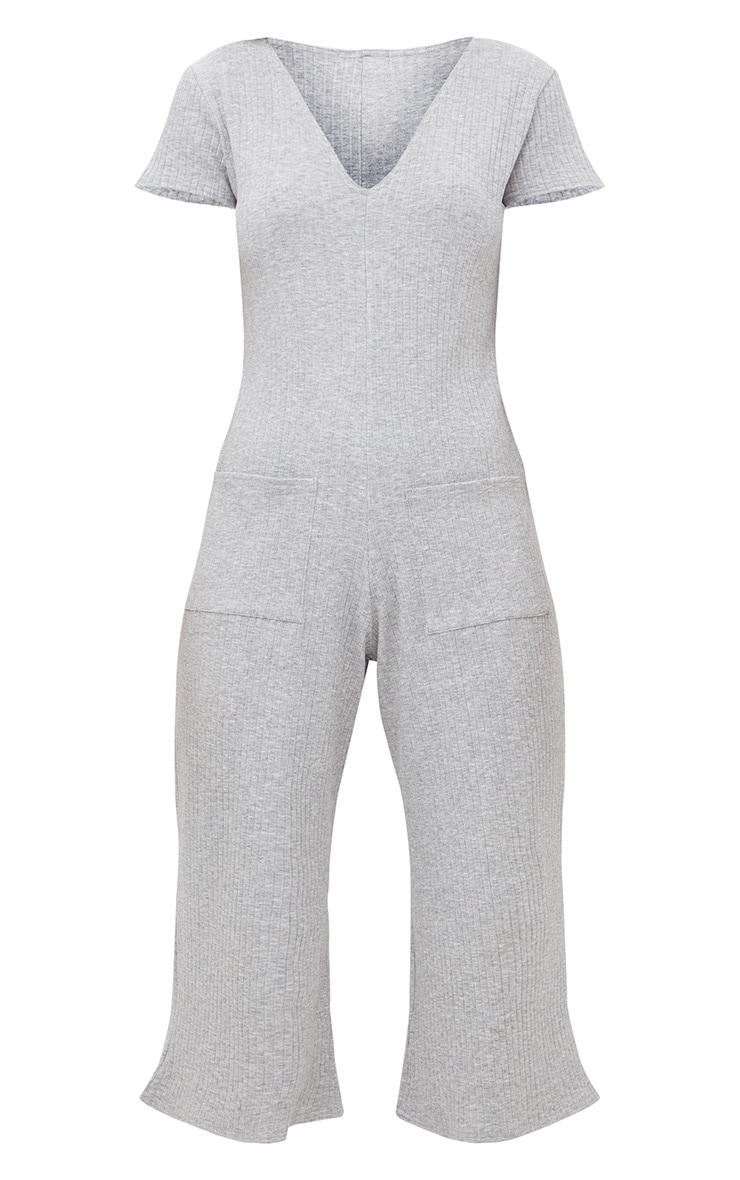 Grey Marl Short Sleeve Ribbed Culottes Pocket Jumpsuit 3