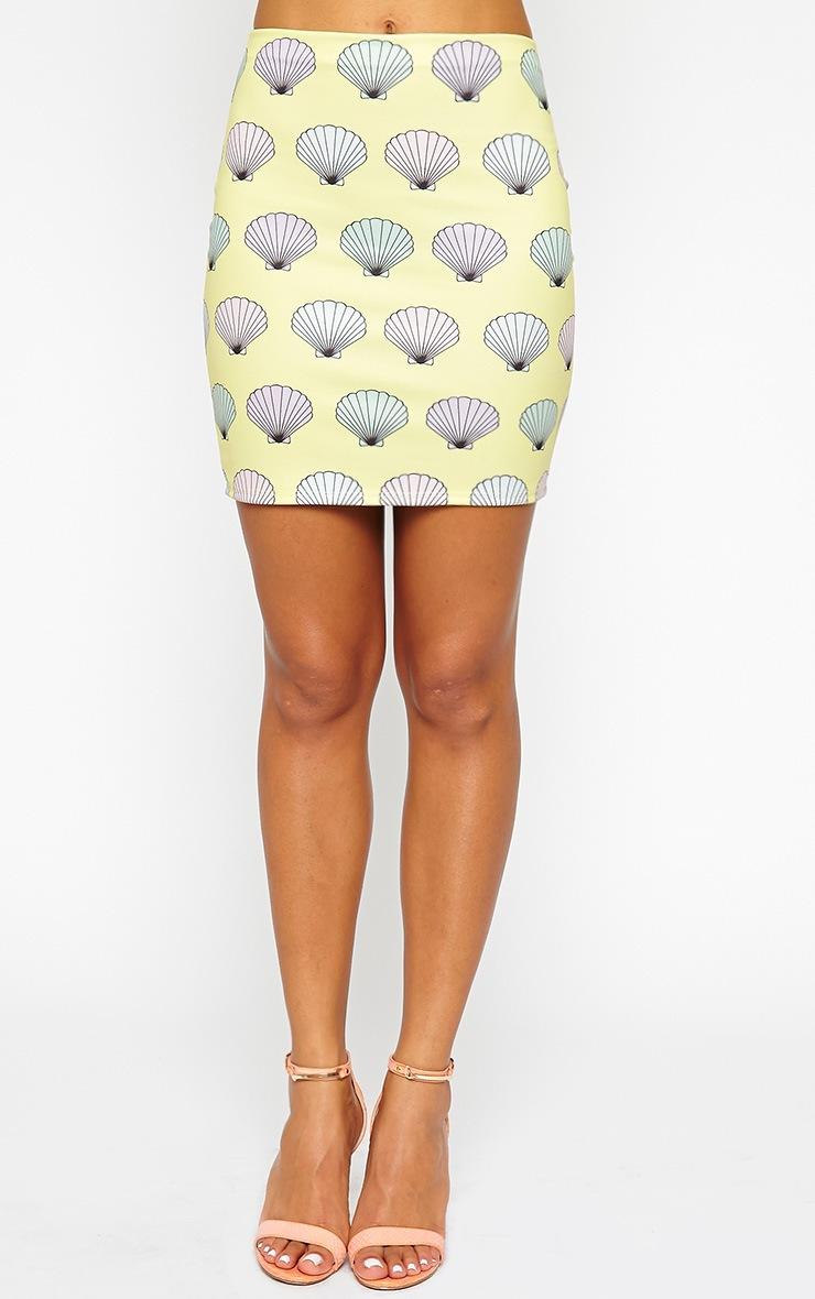 Alexis Yellow Shell Print Skirt 3