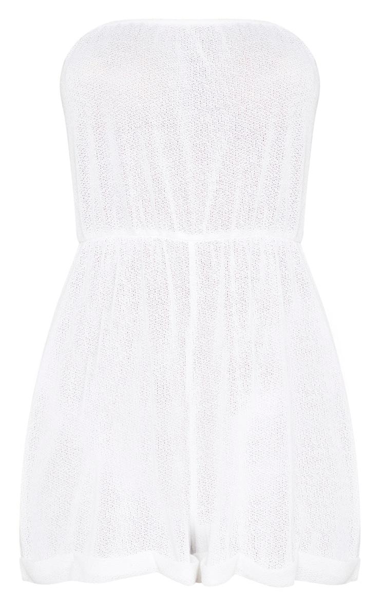 White Lightweight Knit Strapless Beach Playsuit 3