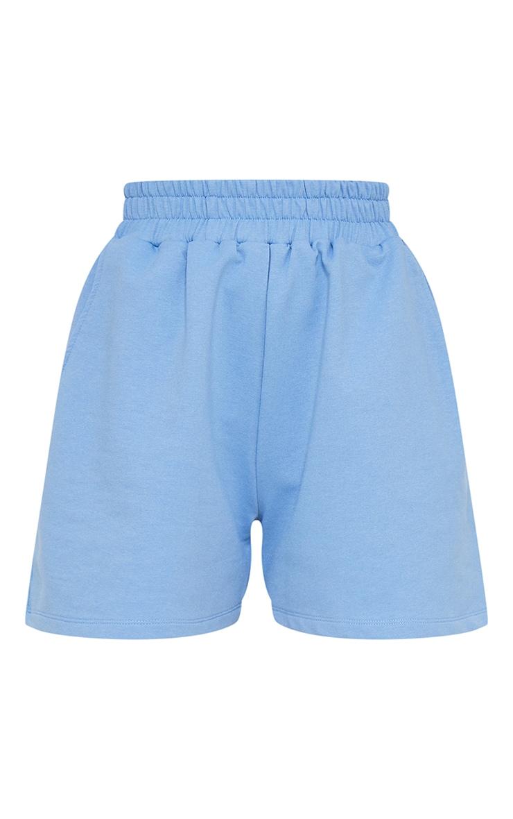 Petite Blue High Waisted Sweat Shorts 6