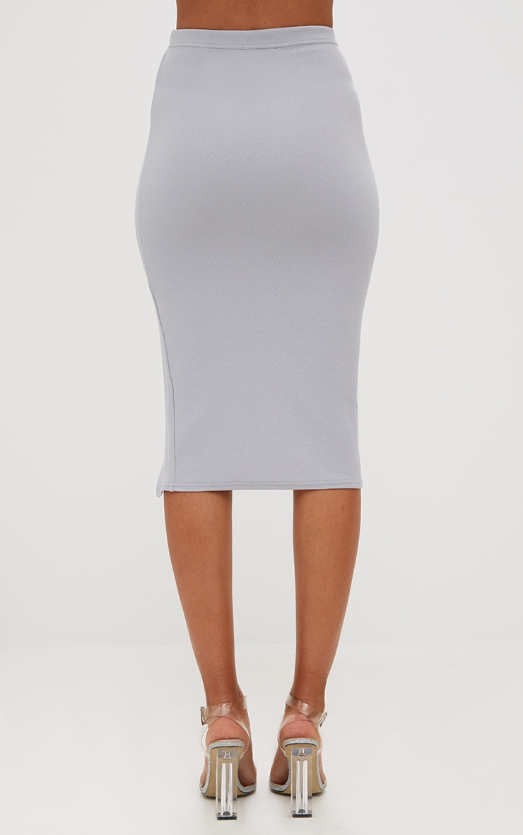 Grey Basic Split Midi Skirt 4