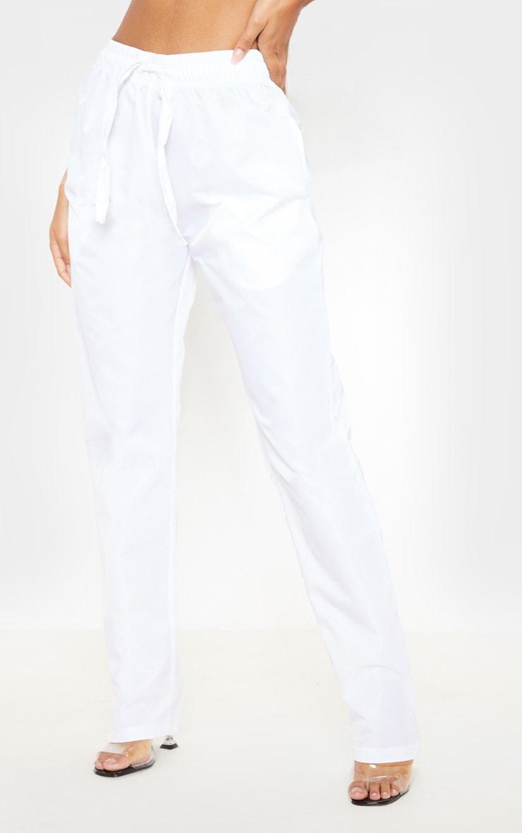 White Shell Cuff Straight Leg Pants 2