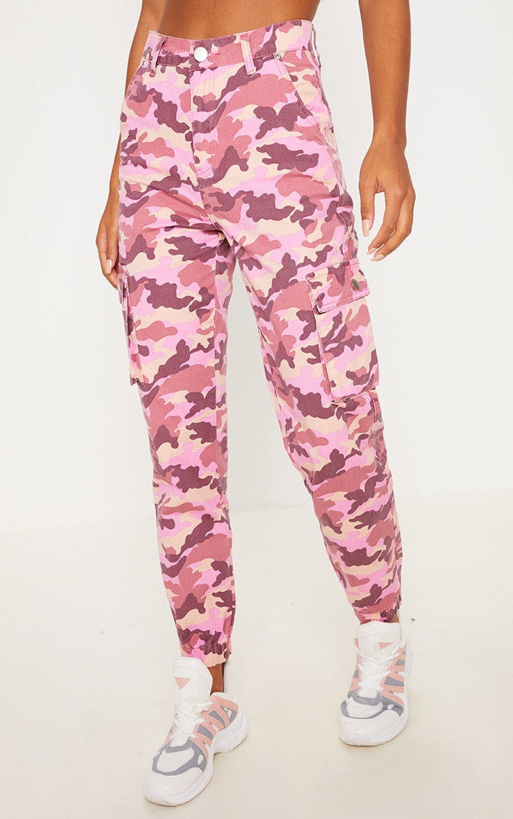Pink Camo Cargo Pocket Jeans  2