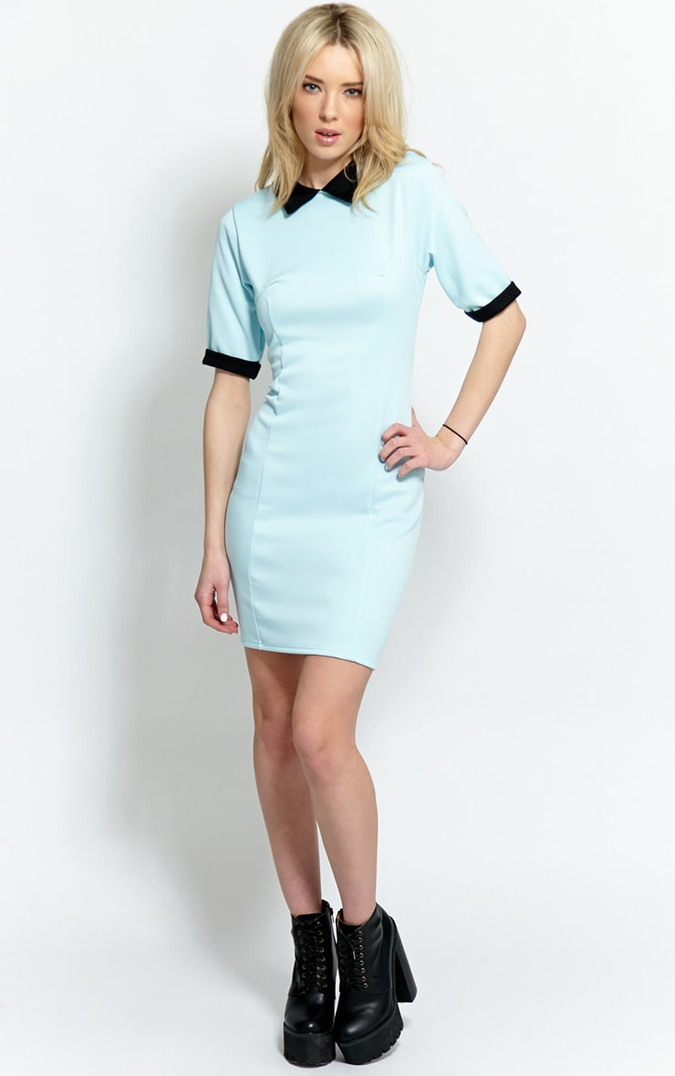 Katrina Baby Blue Collar Dress 3