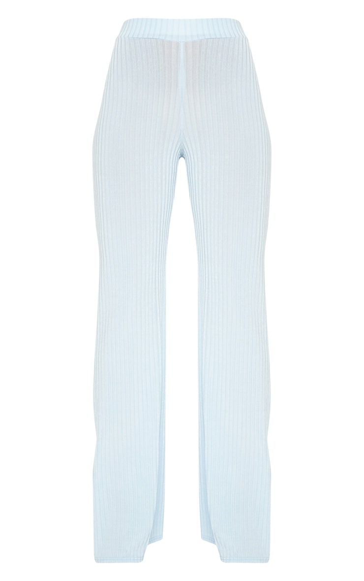 Pale Blue Rib Wide Leg Trousers 3