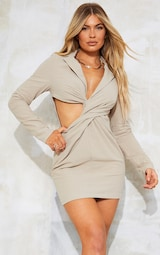 Stone Textured Cut Out Twist Detail Blazer Dress 1