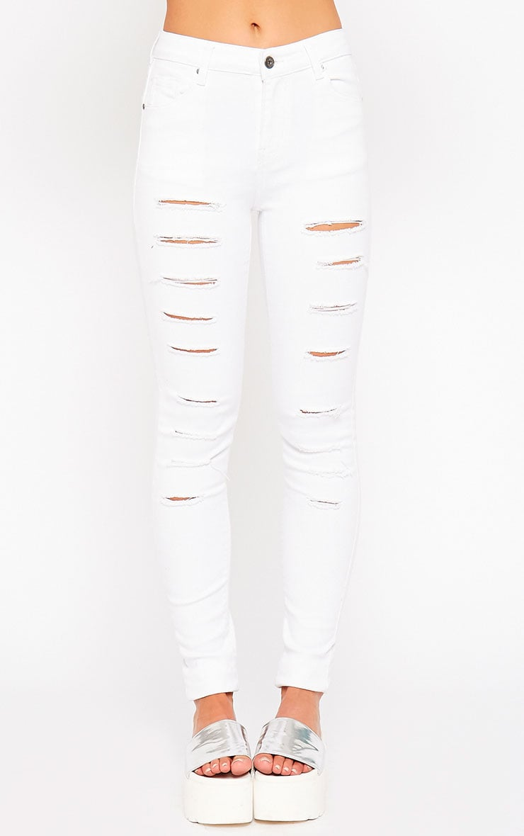 Caisley White Ripped Skinny Jean 2