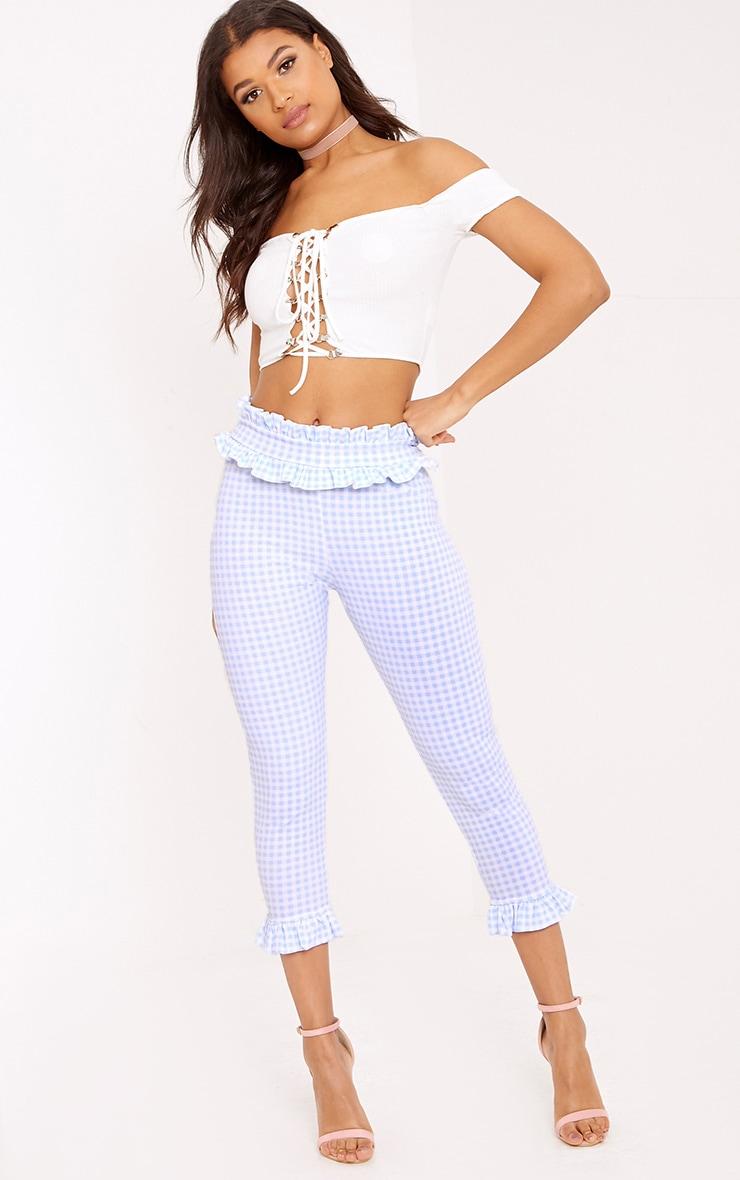 Gingham Frill Hem Trousers | Topshop