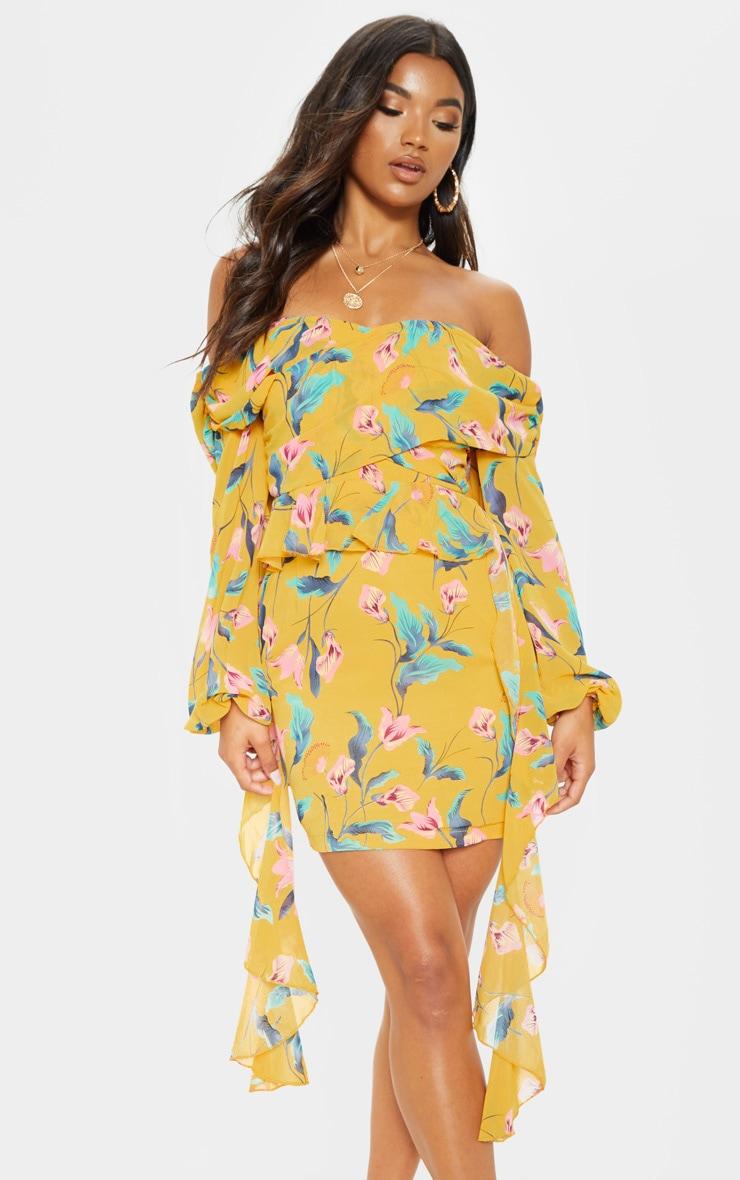 97d0db19bdaa Yellow Floral Bardot Frill Skater Dress   PrettyLittleThing