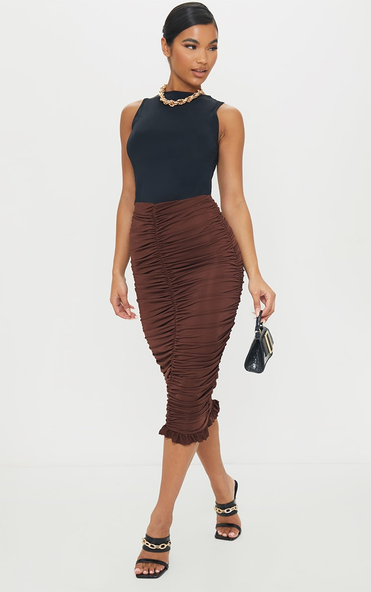 Chocolate Slinky Ruched Frill Hem Midi Skirt 1