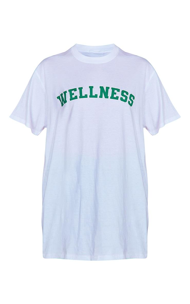 White Wellness Printed T Shirt 5