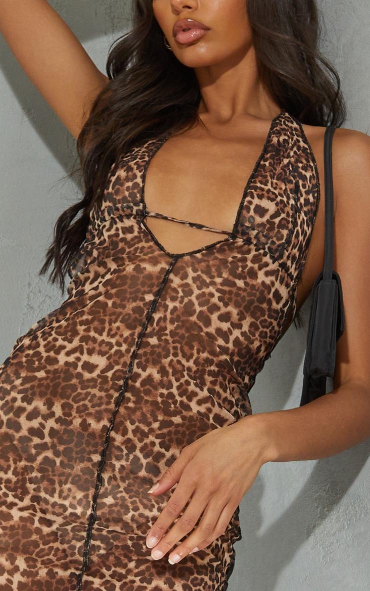 Brown Leopard Print Sheer Mesh Halterneck Tie Back Maxi Dress 4