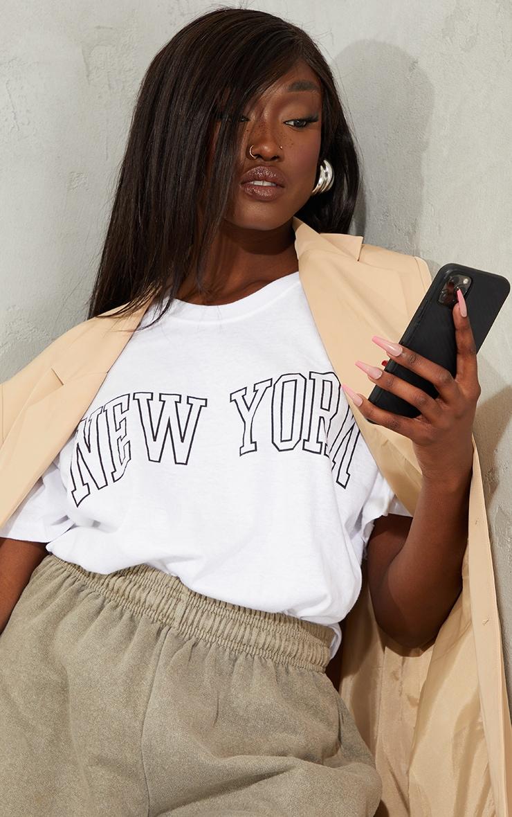 White New York Print T Shirt 4