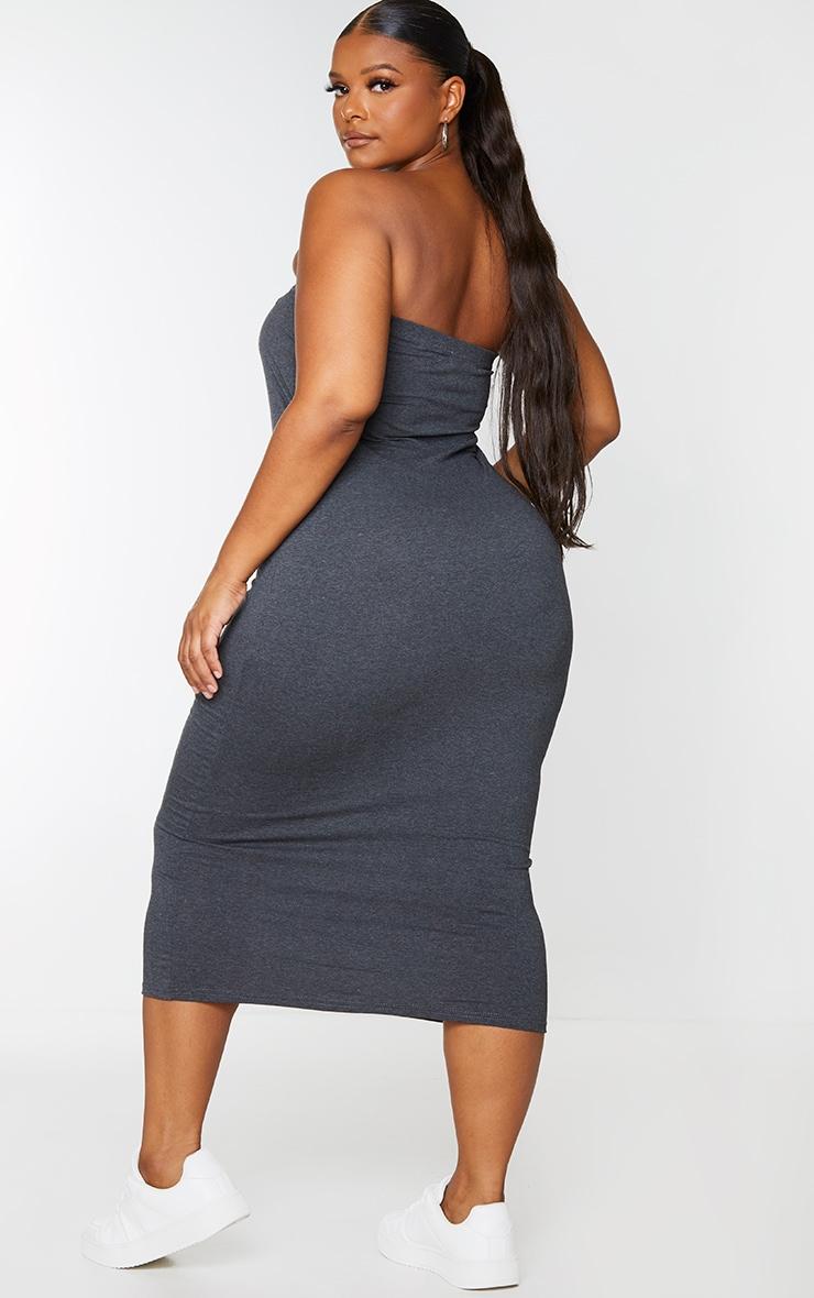 Basic Plus Charcoal Cotton Blend Grey Cotton Blend Bandeau Midaxi Dress 2