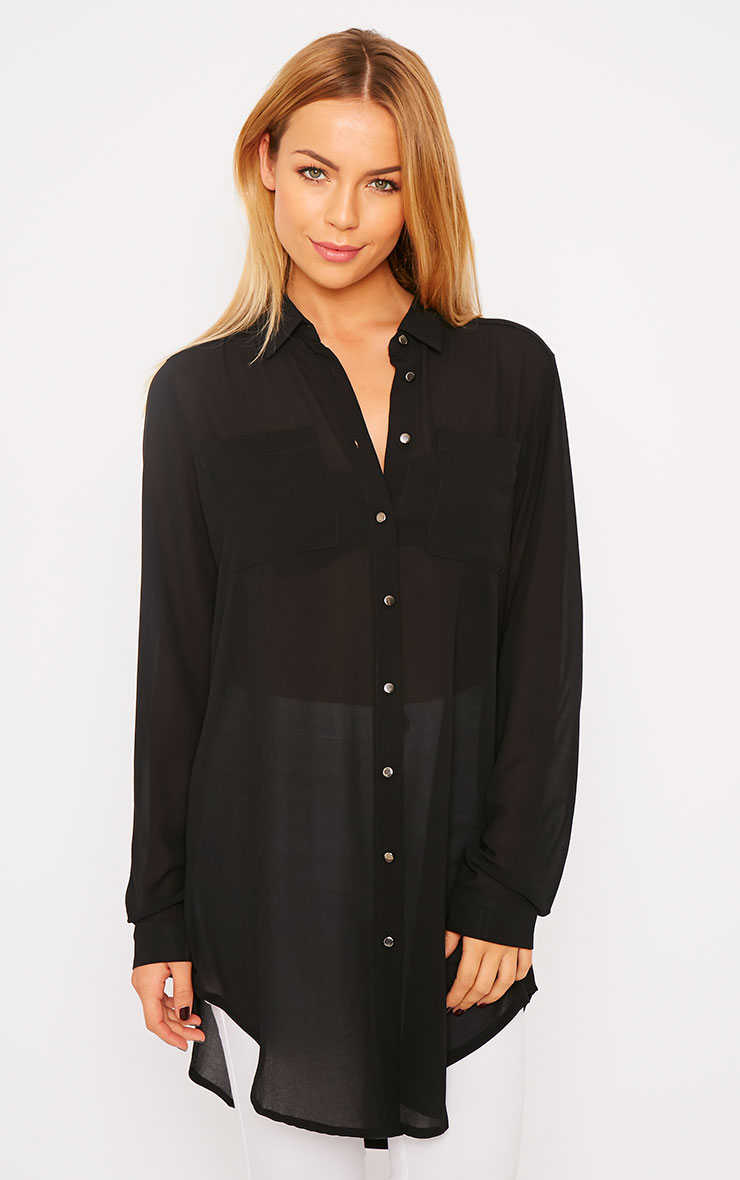 Sofie Black Silver Button Shirt 4