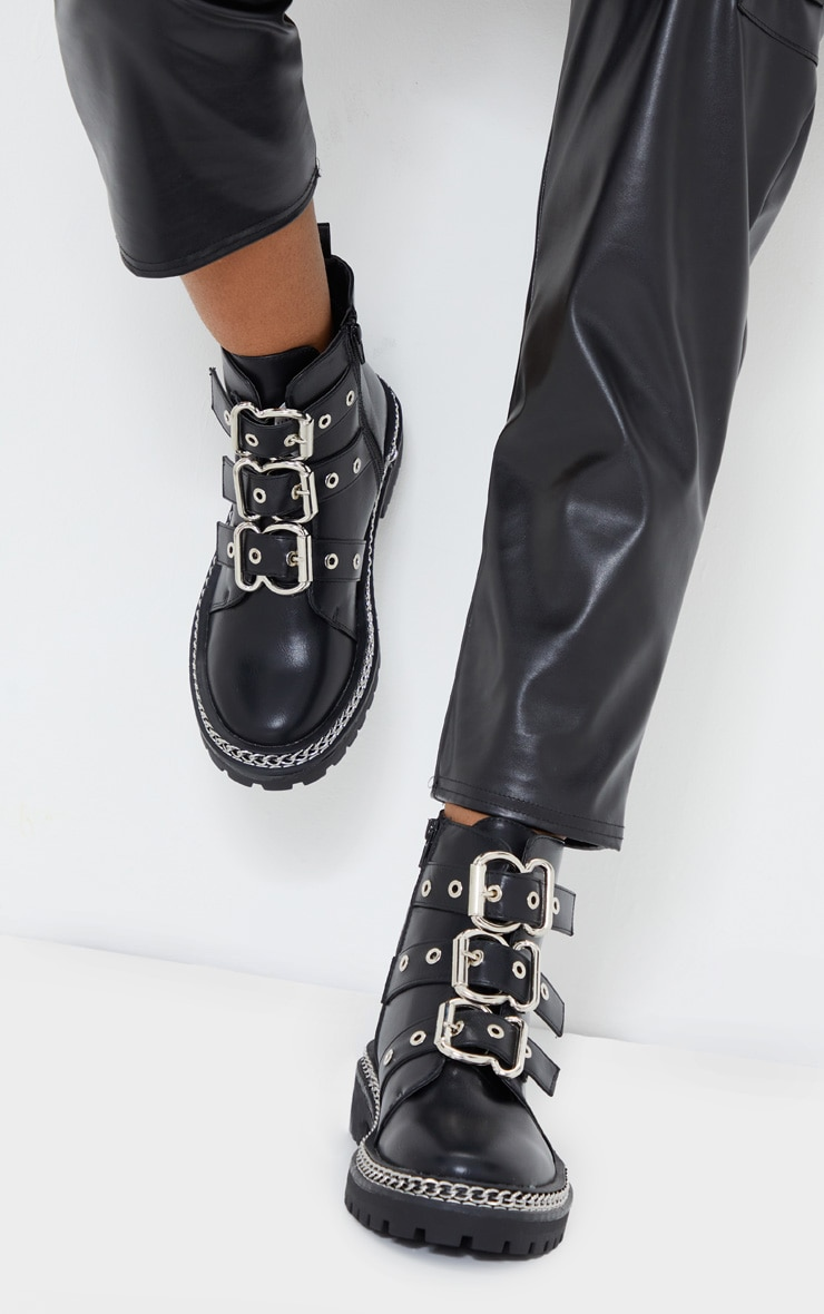 Black Wide Fit Triple Buckle Ankle Boots 1