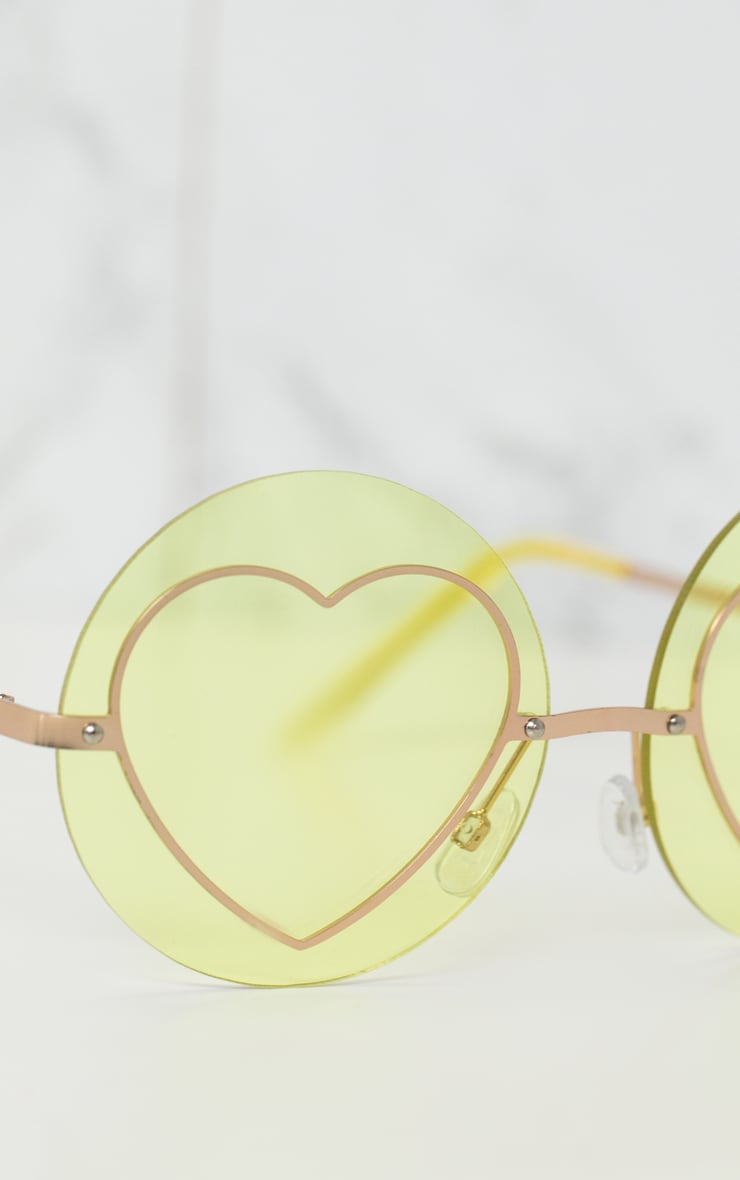 Yellow Heart Circle Sunglasses 3