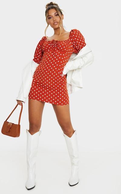 Terracotta Polka Dot Print Tie Bust Puff Sleeve Shift Dress